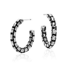 "Box Chain Hoop Earrings in Sterling Silver (5/8"")"