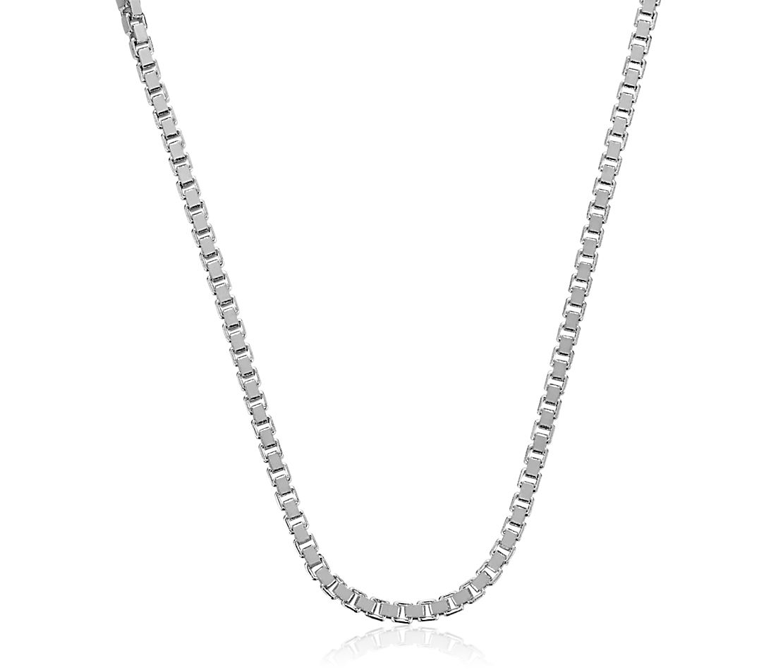 Box Chain in 14k White Gold (0.9mm)