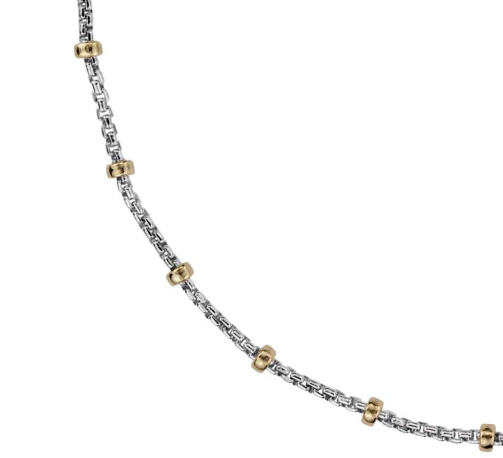 Collar con forma de cadena en plata de ley y Oro amarillo de 14k