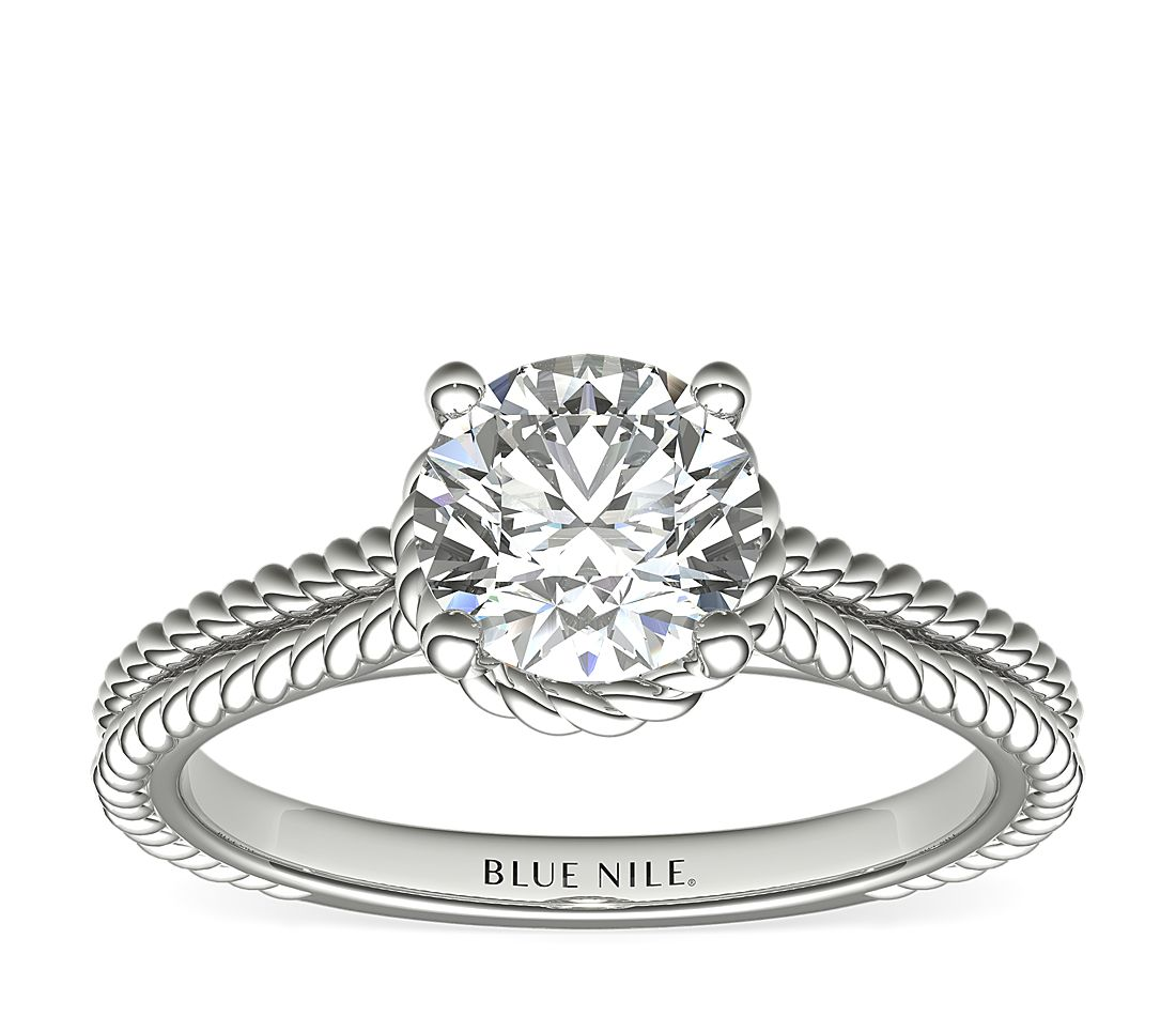 Blue Nile Braid Halo Solitaire 1.08-Carat Round-Cut Diamond Ring in White Gold