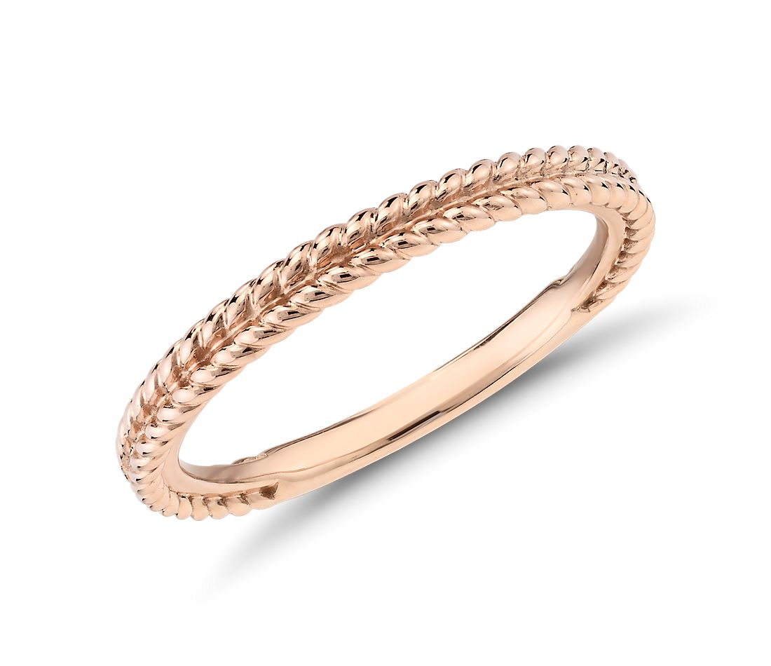 Braided Wedding Band in 14k Rose Gold