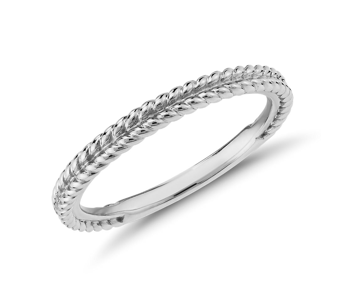 Braided Wedding Band in 14k White Gold