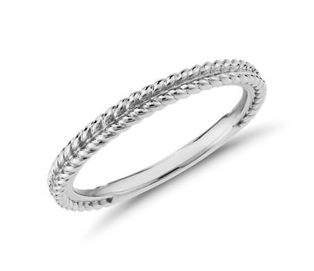 鉑金 辮狀編織結婚戒指