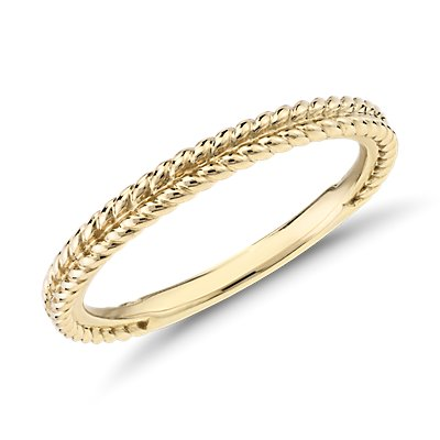 14k 金辫式纹理结婚戒指
