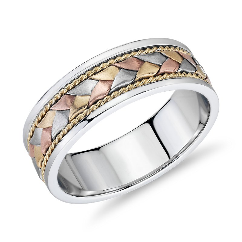 Tri-Color Braided Rope Wedding Band in 14k White, Yellow, and Ros