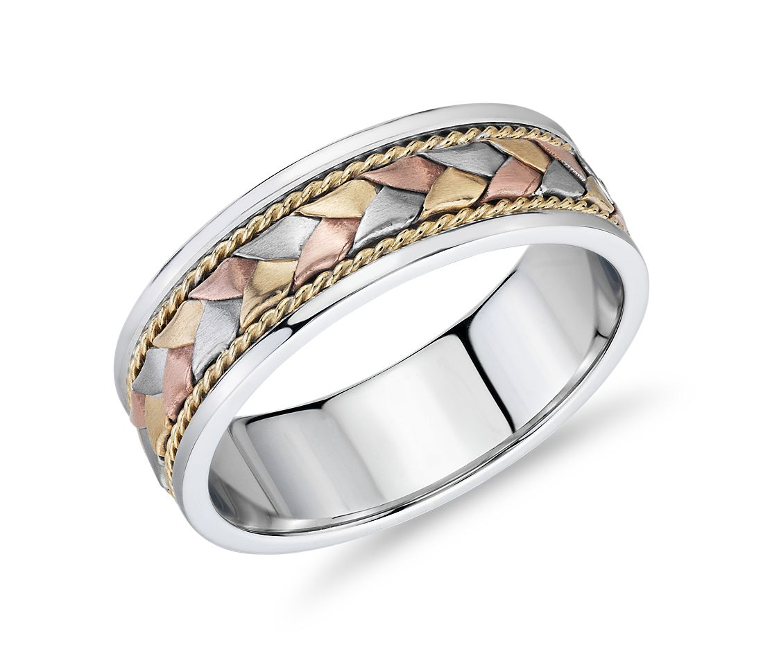 Tri-Color Braided Rope Wedding Band in 14k White, Yellow, and Rose Gold (7mm)