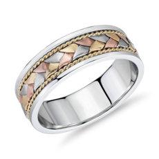 14k 白金、黄金和玫瑰金三色辫式绳状结婚戒指(7毫米)