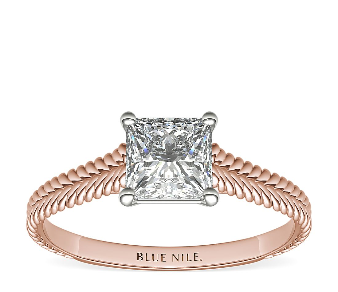 Blue Nile Braided Cathedral Solitaire 1.20-Carat Radiant-Cut Diamond Ring in Rose Gold