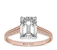 14k 玫瑰金辮狀大教堂單石訂婚戒指