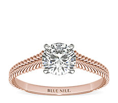 Braided Cathedral Solitaire Engagement Ring in 14k Rose Gold
