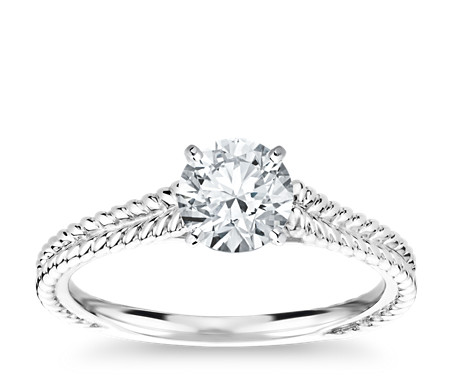 Braided Cathedral Solitaire Engagement Ring in 14k White Gold