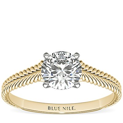 Braided Cathedral Solitaire Engagement Ring in 14k Yellow Gold