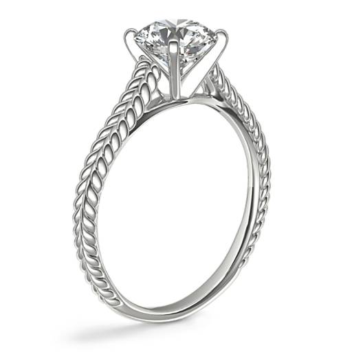 Braided Cathedral Solitaire Diamond Engagement Ring