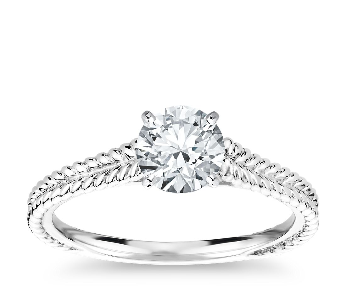 Braided Cathedral Solitaire Diamond Engagement Ring in Platinum