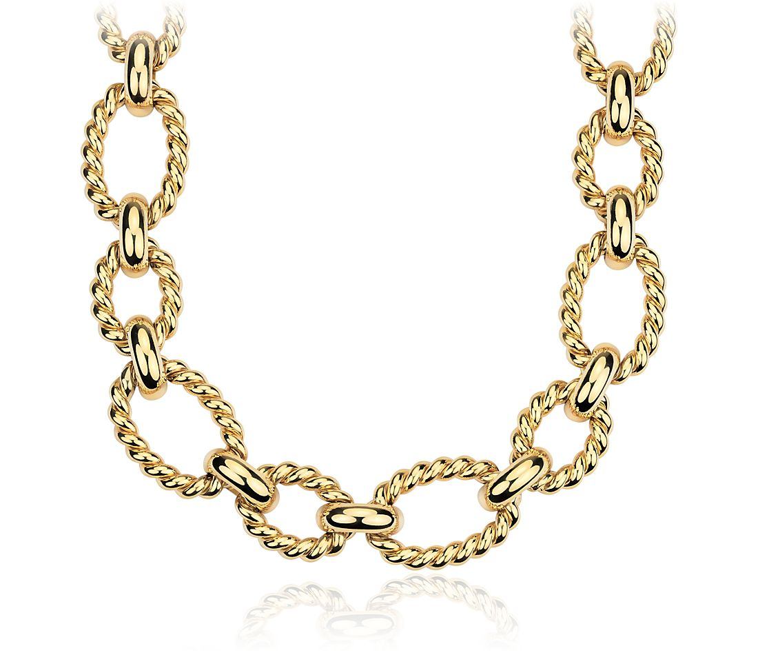 Braided Chain Link Necklace in 14k Yellow Gold | Blue Nile