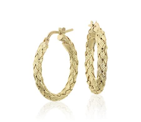 18k 黃金 辮狀圈形耳環<br>( 7/8 英寸)