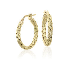 "Braided Hoop Earrings in 18k Italian Yellow Gold (7/8"")"