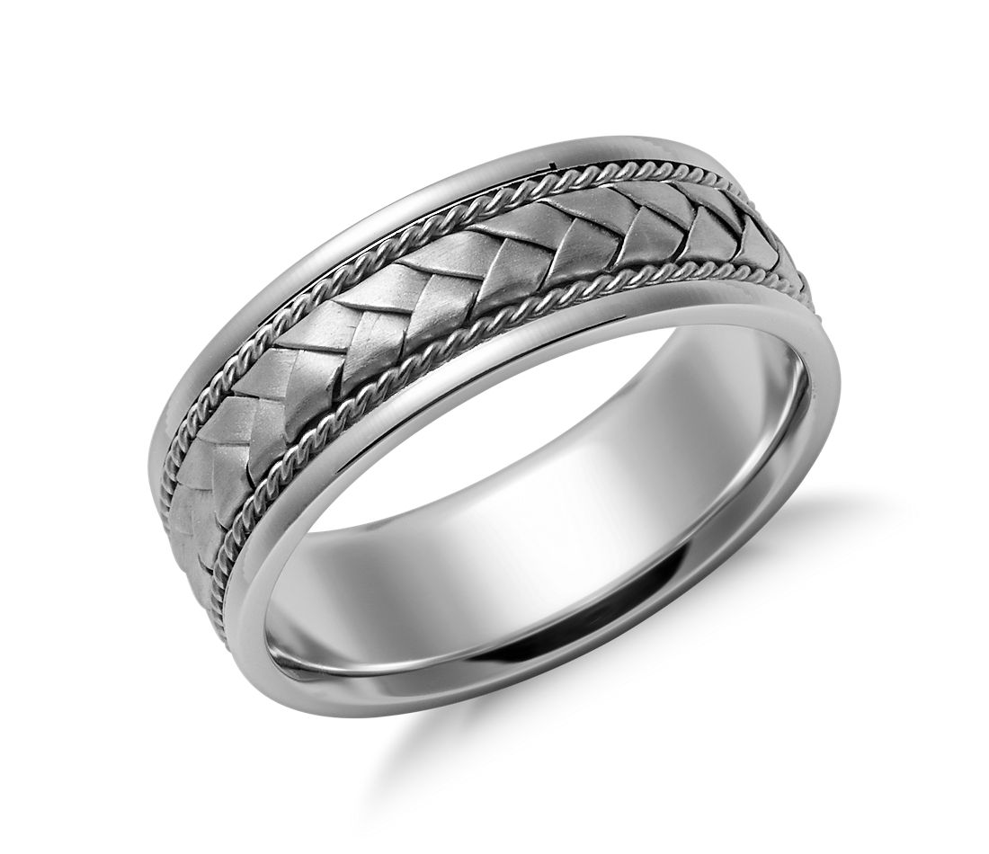 Braided Wedding Ring In 14k White Gold 7mm