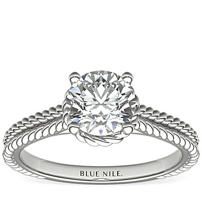 Braid Halo Solitaire Diamond Engagement Ring in 14k White Gold