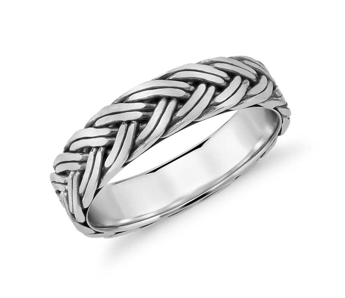 Handbraided Wedding Ring In Platinum (55mm)