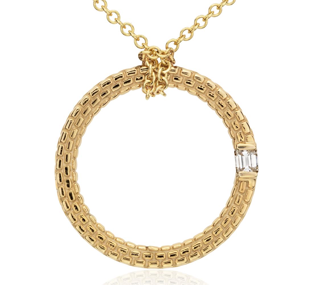 Pendentif diamant motif brique en or jaune 14carats (1/10carat, poids total)