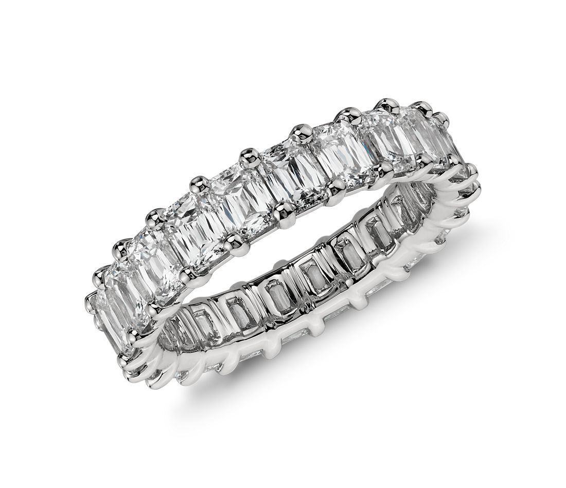 Brilliant Emerald Cut Diamond Eternity Ring In Platinum 4