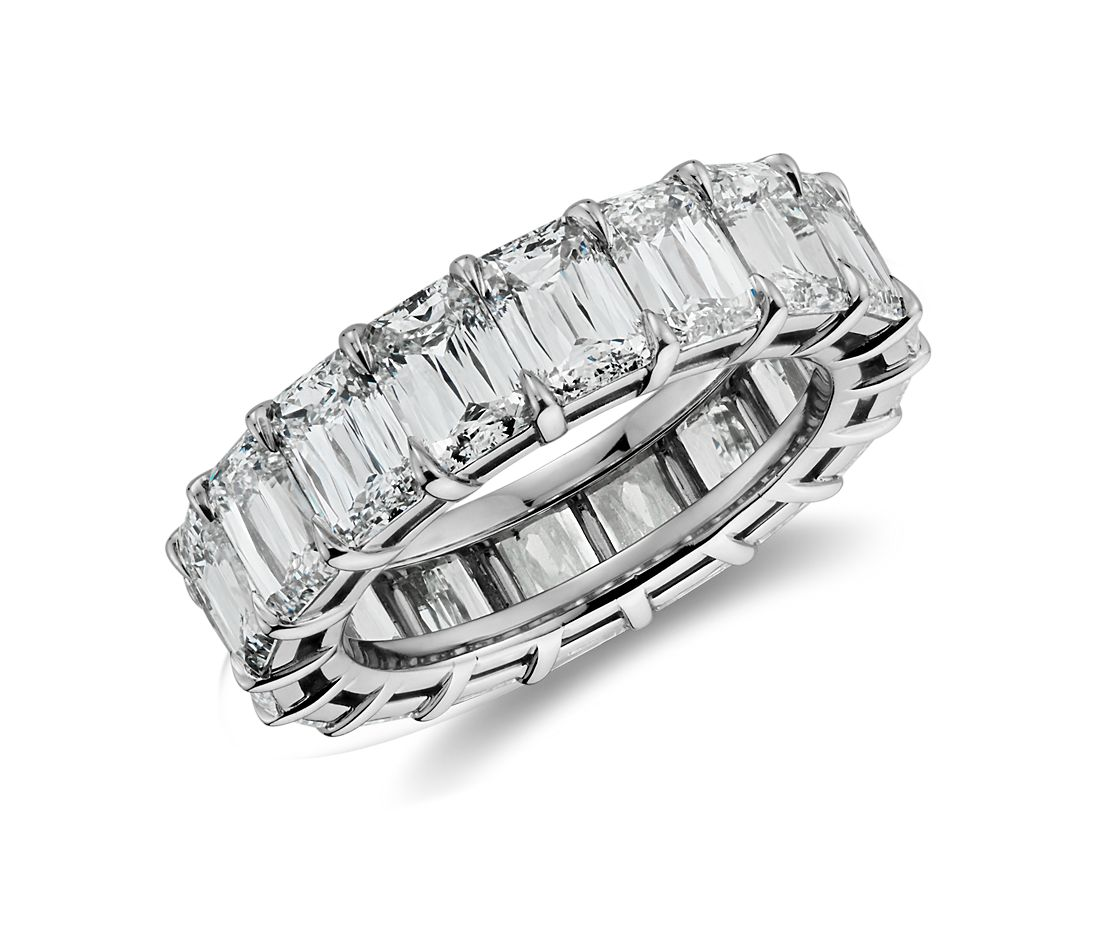 Brilliant Emerald Cut Diamond Eternity Ring In Platinum 8