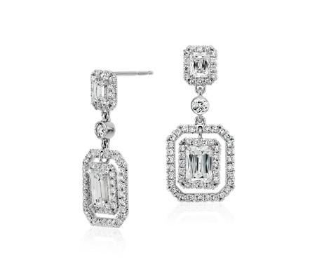 Brilliant Emerald Cut Diamond Halo Double Drop Earrings In 18k White Gold