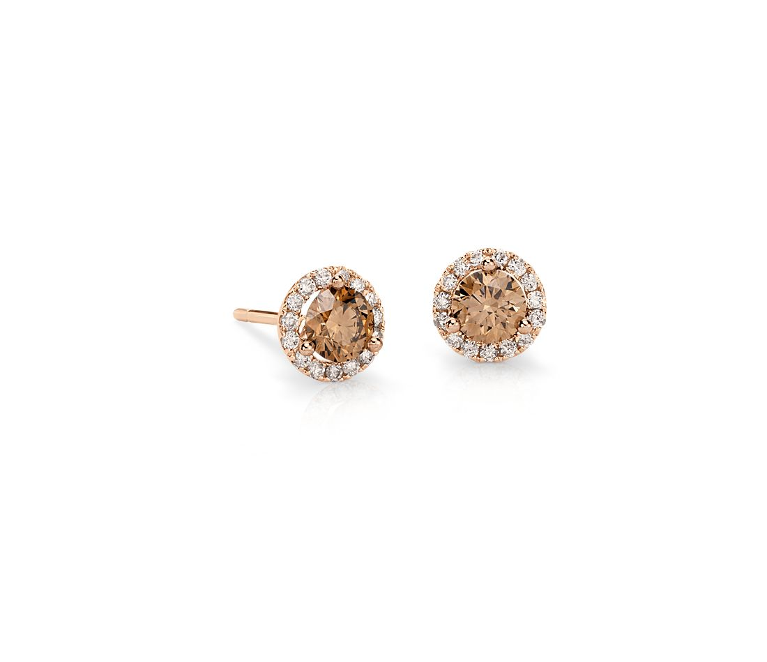 Brown Diamond Halo Earrings in 14k Rose Gold (1 ct. tw.)