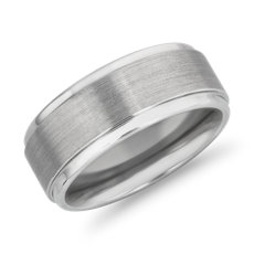 Brushed and Polished Comfort Fit Wedding Ring in White Tungsten Carbide (9mm)