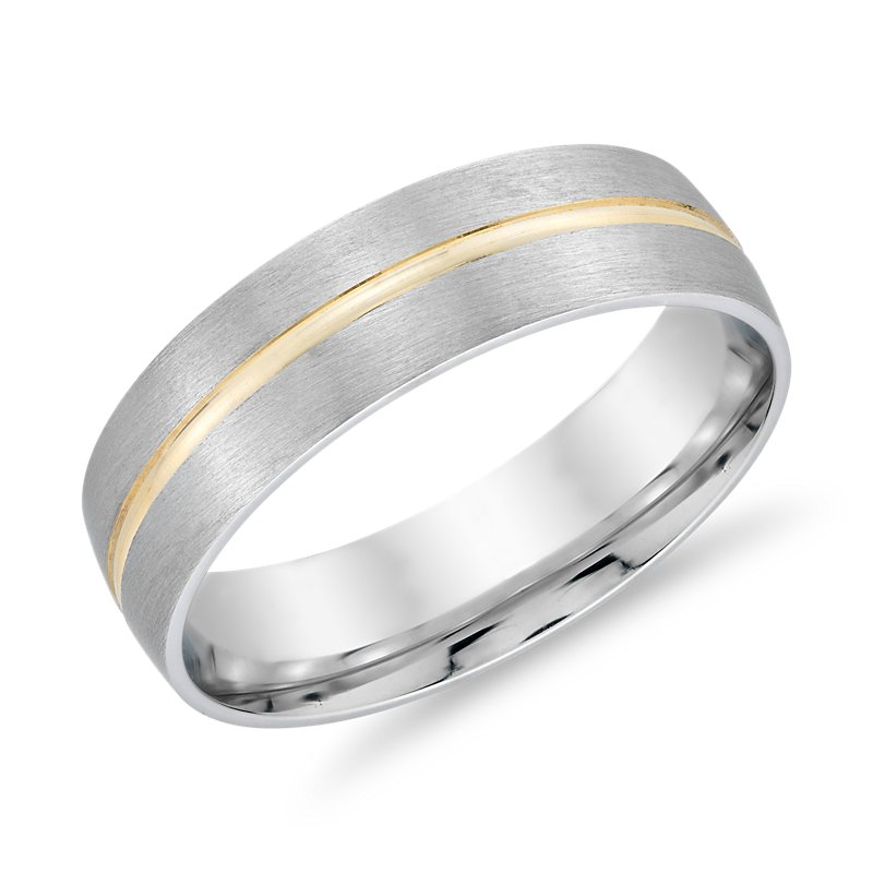 Brushed Band in 14k White Gold with Polished 14k Yellow Gold Inla