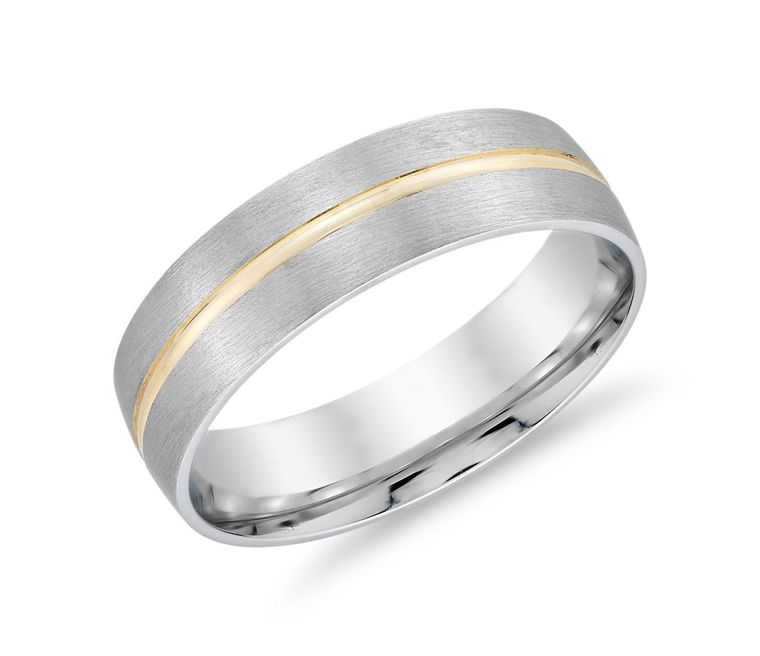 Brushed Band in 14k White Gold with Polished 14k Yellow Gold Inlay