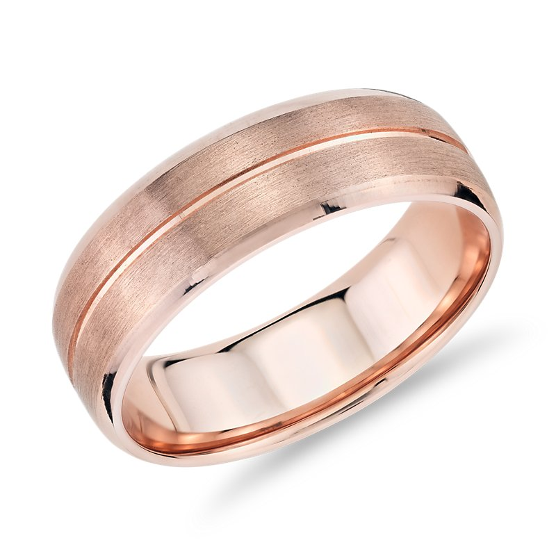 High Polish Inlay Brushed Wedding Band in 14k Rose Gold (7mm)