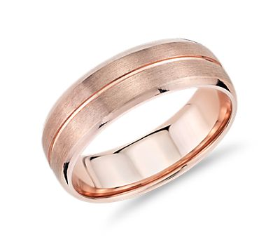Brushed Band 14k Rose Gold Wedding