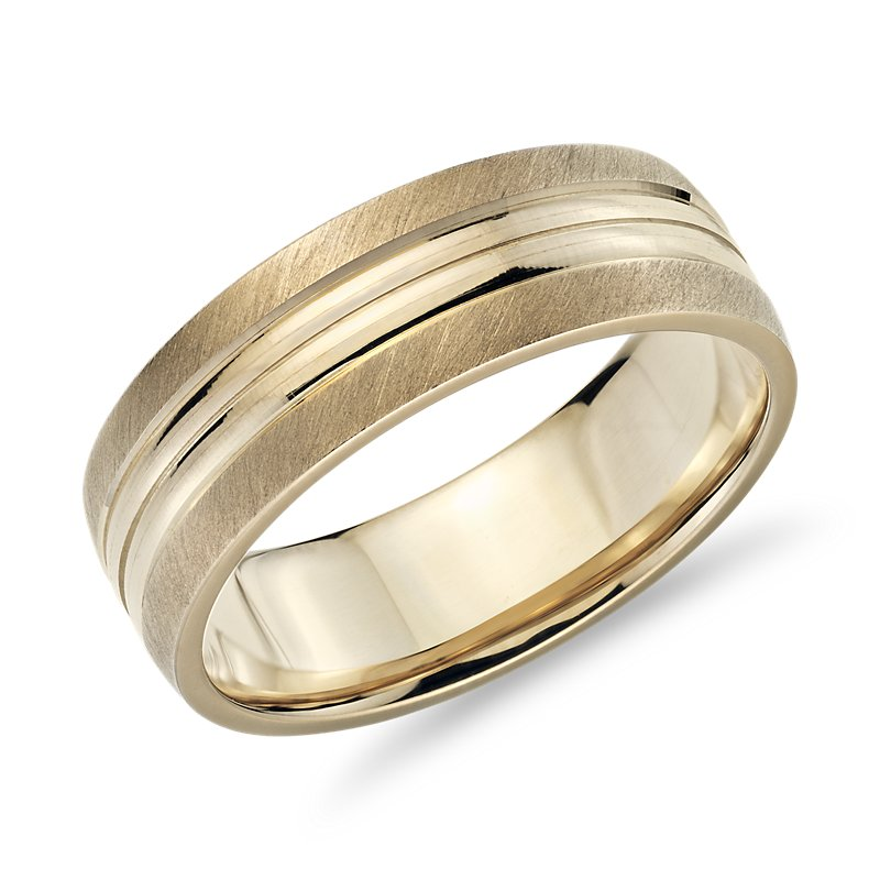 Brushed Band and Polished Inlay in 14k Yellow Gold