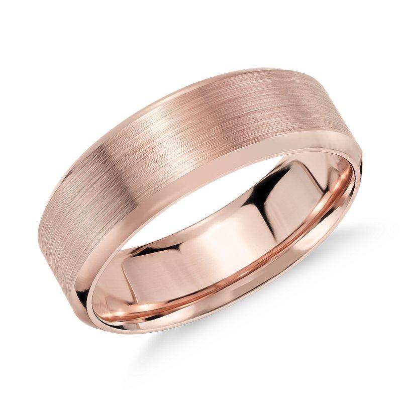 Brushed Beveled Edge Wedding Ring in 14k Rose Gold (7mm)