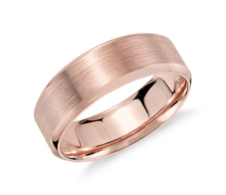 Brushed Beveled Edge Wedding Ring in 14k Rose Gold (7mm)