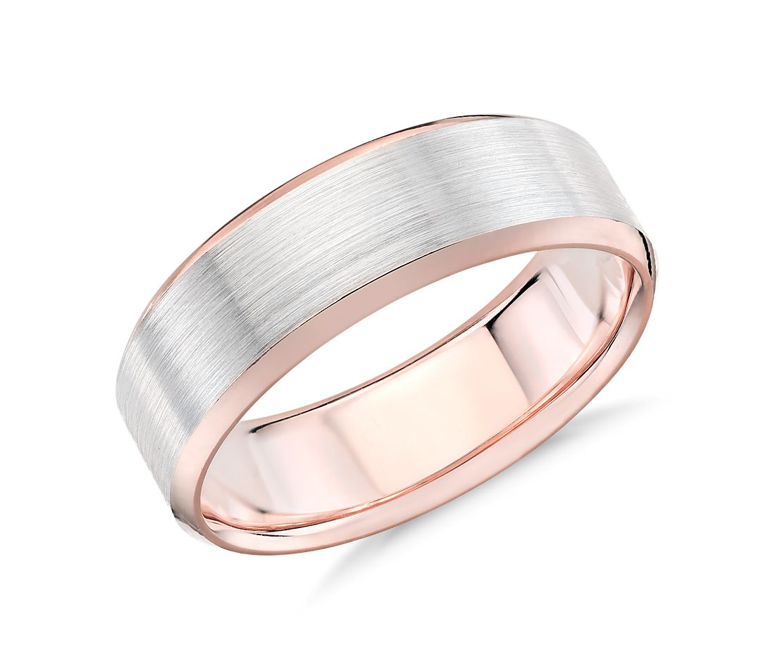 brushed beveled wedding ring white rose gold white gold wedding bands Brushed Beveled Edge Wedding Ring in 14k White and Rose Gold 7mm
