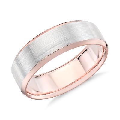 Brushed Beveled Edge Wedding Ring in 14k White and Rose Gold 7mm