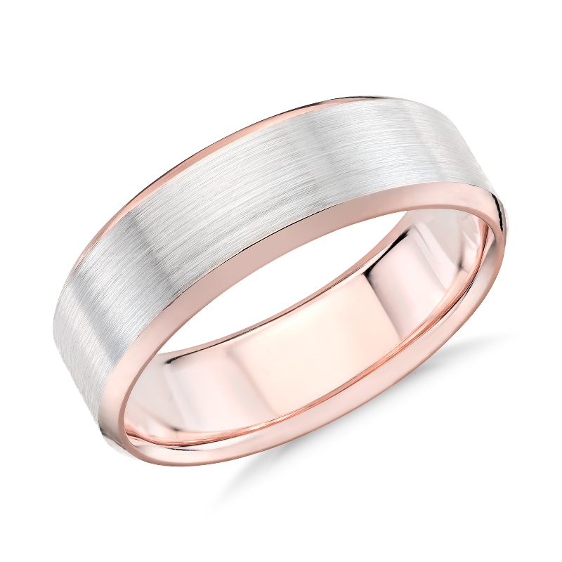 Brushed Beveled Edge Wedding Ring in 14k White and Rose Gold (7mm