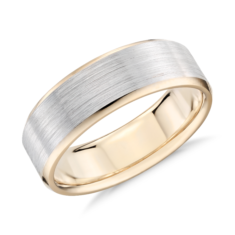 Brushed Beveled Edge Wedding Ring in 14k White and Yellow Gold (7