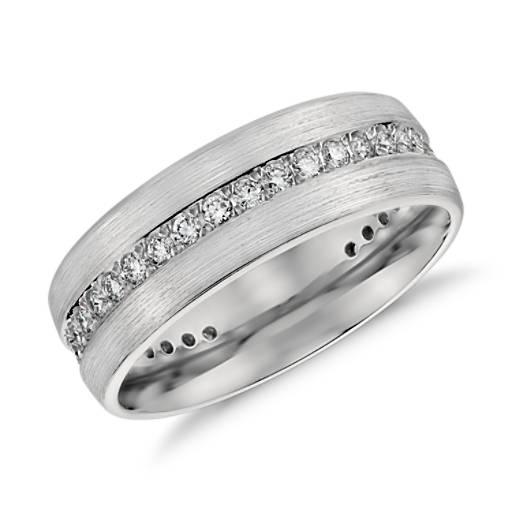 Brushed Diamond Eternity Men S Wedding Ring In Platinum 1