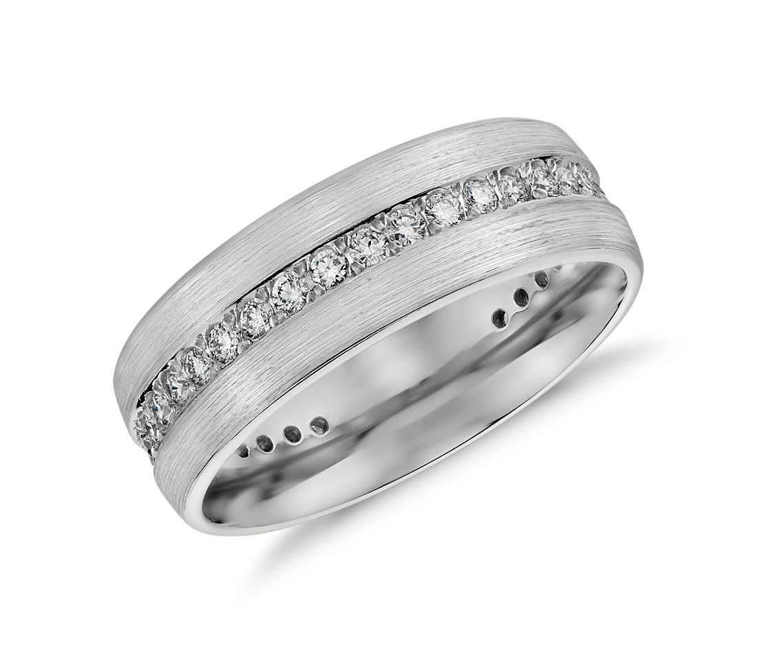 Brushed Diamond Eternity Mens Wedding Ring In Platinum 1 2 Cttw