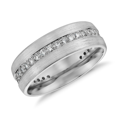 Brushed Diamond Eternity Mens Wedding Ring in 14k White Gold 12