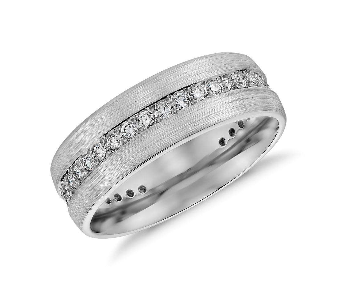brushed diamond eternity men's wedding ring in 14k white gold (1/2