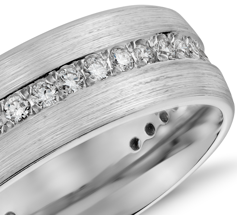Alliance pour hommes éternité diamant poli en or blanc 14carats (1/2carat, poids total)