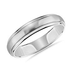 新款 14k 白金刷亮圓拱內圈鑲嵌結婚戒指 (5毫米)