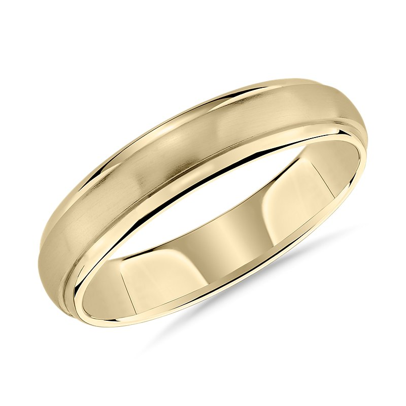 Brushed Dome Inlay Wedding Ring in 14k Yellow Gold (5mm)