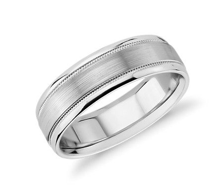 Brushed Inlay Milgrain Wedding Ring in 14k White Gold (7mm)