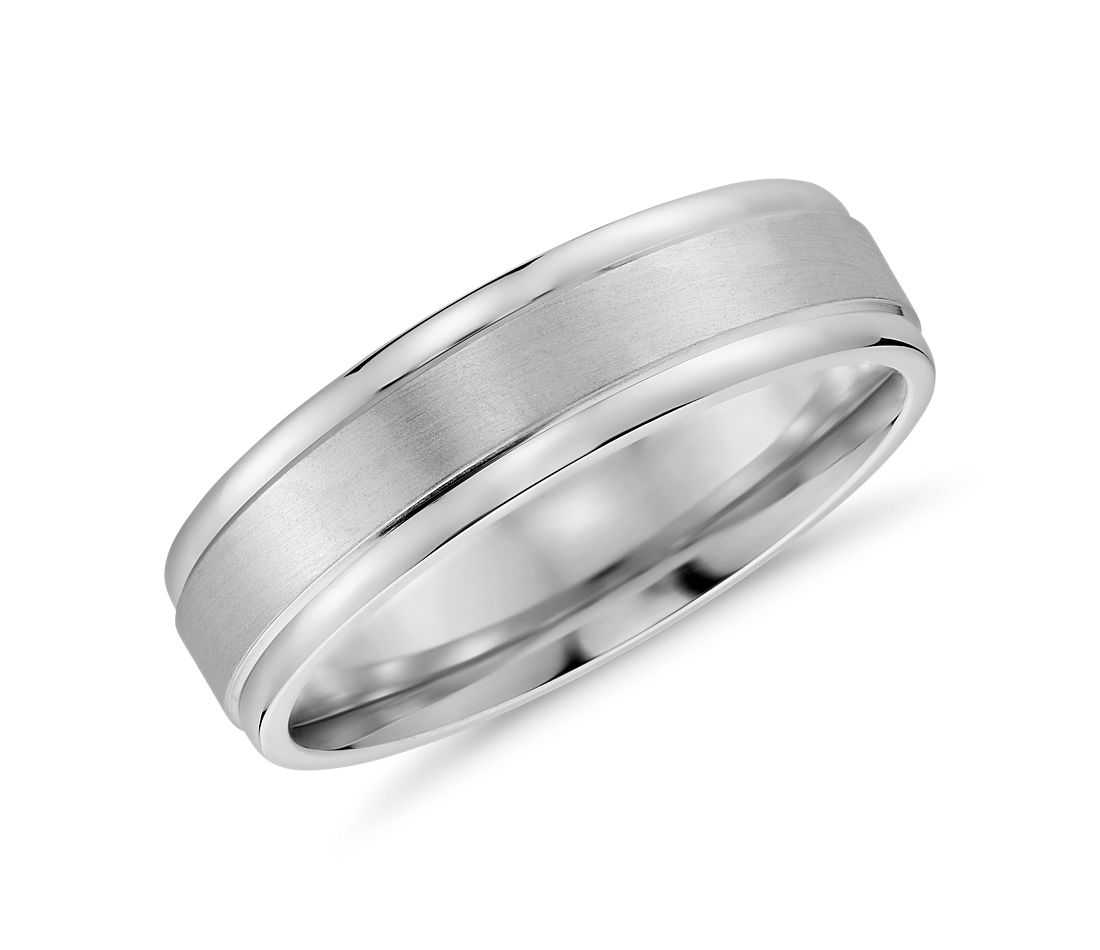 brushed inlay wedding ring in 14k white gold 6mm - Mens White Gold Wedding Ring